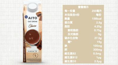 芬蘭AITO燕麥奶-巧克力(營養標示)