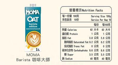MOMA燕麥奶-咖啡大師(營養標示)
